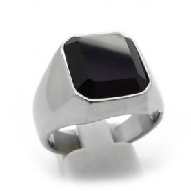 Ανδρικό Δαχτυλίδι με μαύρη πέτρα απλό κλασικό