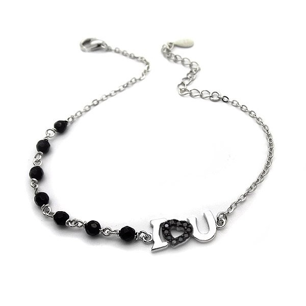 Βραχιόλι I love you με μαύρες πέτρες και αλυσίδα ασημένιο φθηνό 6dcd2480e63