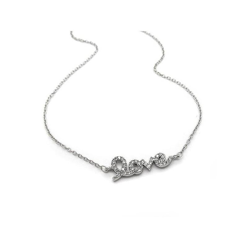 Μενταγιόν love με πετρες και αλυσίδα για το λαιμό ασημένιο φθηνό 451db246230