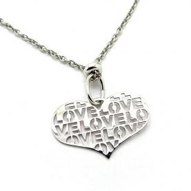 Μοντέρνο κολιέ με καρδιά Love
