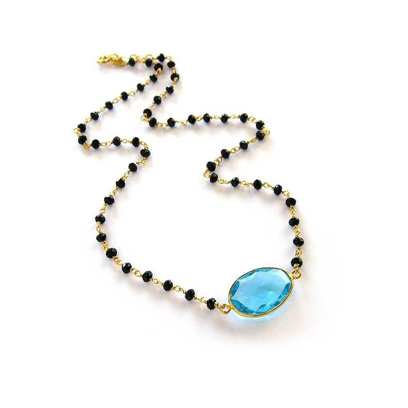 Rosary necklace with Aquamarine and black crystals, gold plated sterling silver
