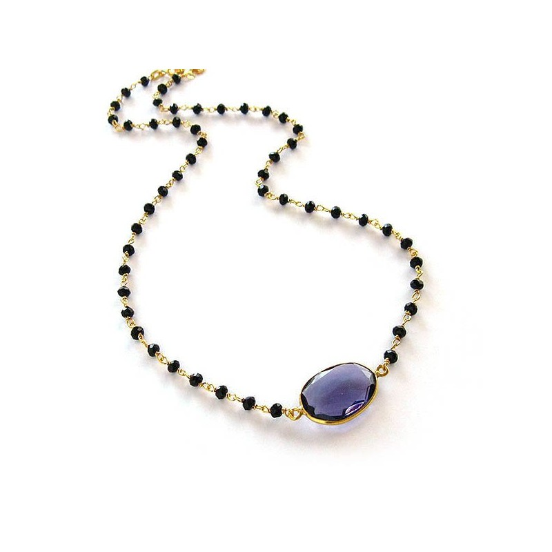 Rosary necklace with Amethyst and black crystals, gold plated sterling silver