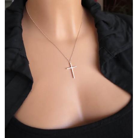 Ομορφος σταυρος με πέτρες σε Rose Gold