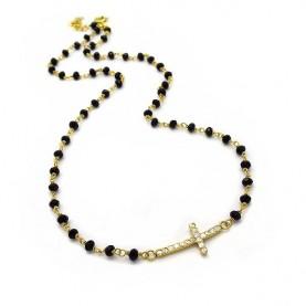 Κολιέ με σταυρό και πέτρες επίχρυσο ασήμι 925