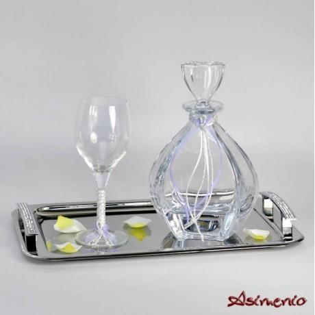 Wedding tray with rhinestones from inox design Triple Strass
