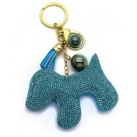 Μπρελοκ γυναικείο με γαλάζιο σκυλάκι