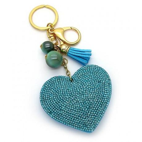 Μπρελοκ με καρδιά με γαλάζια Strass