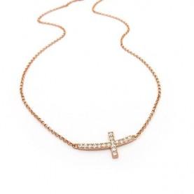 Κολιέ με σταυρό από ασήμι σε rose gold