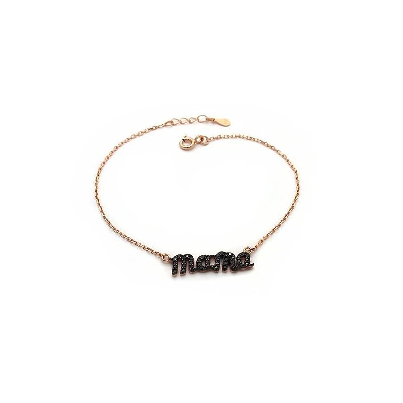 Προσφορά Βραχιόλι mama ασημένιο σε ροζ χρυσό με μαύρες πέτρες b7fa31178f7