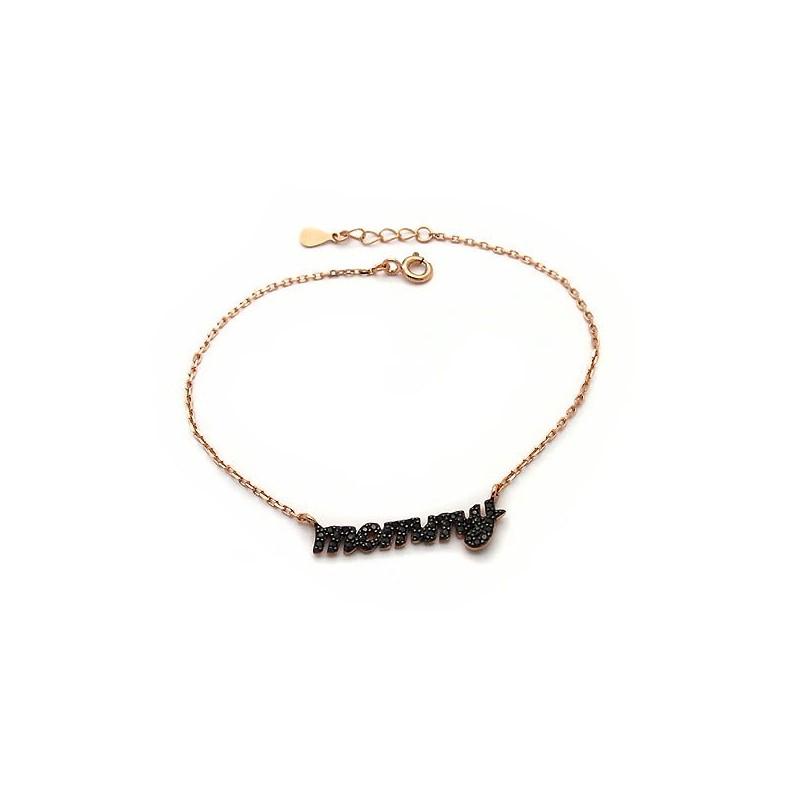 Βραχιολι mommy ασημένιο με μαύρες πετρούλες και αλυσίδα φθηνό κόσμημα 052bf6d23e6