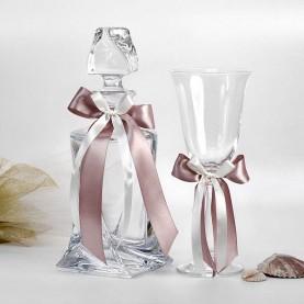 Καράφα και ποτήρι γάμου κρυστάλλινα σχέδιο Quatro