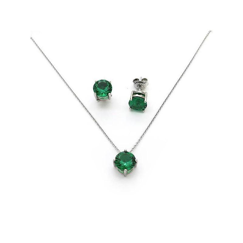 Μονόπετρο σετ με πράσινες πέτρες 7mm ασημένιο