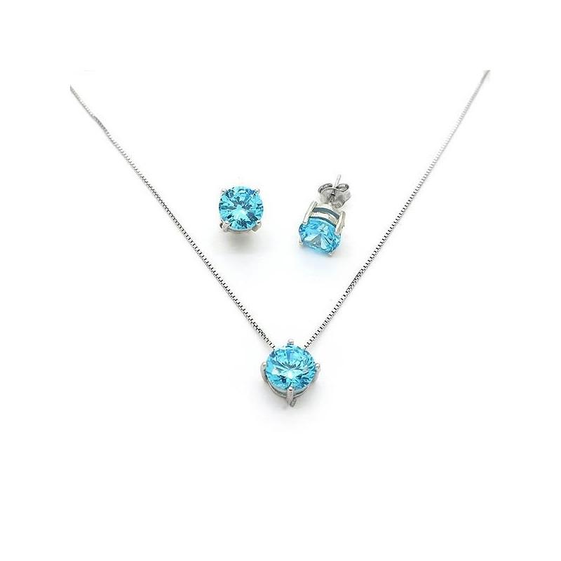 Μονόπετρο σετ με γαλάζιες πέτρες 7mm ασημένιο