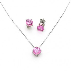 Μονόπετρο σετ με ροζ πέτρες 7mm ασημένιο