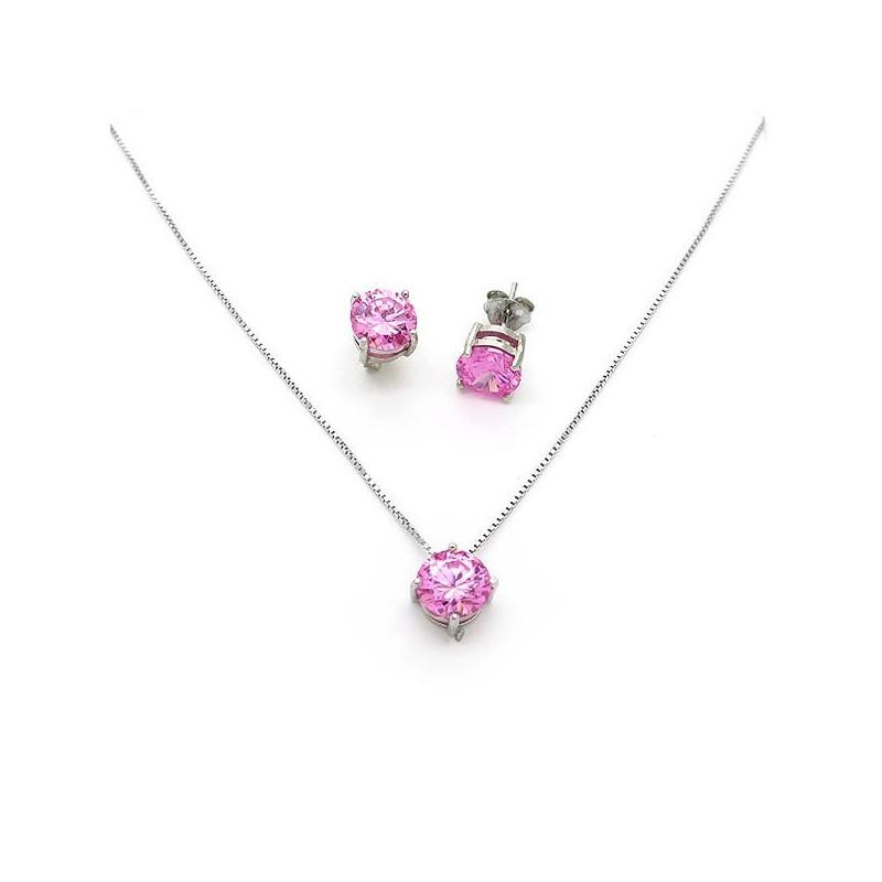 Μονόπετρο Κόσμημα με ροζ πέτρες κρεμαστό με αλυσίδα και σκουλαρίκια 80caf08a751