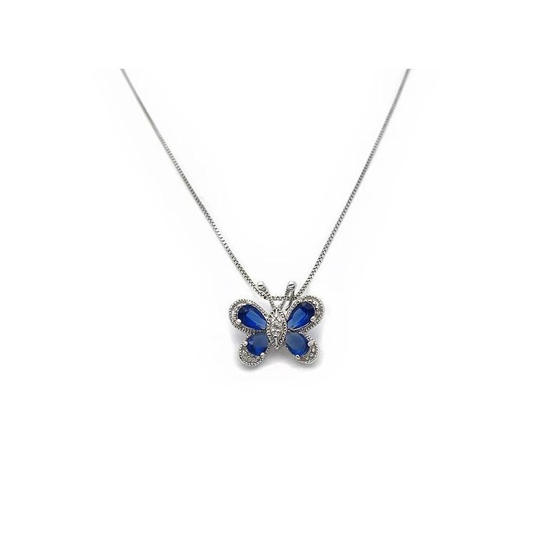 Κρεμαστό πεταλούδα με μπλε πέτρες και αλυσίδα ασημένιο