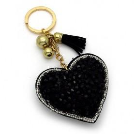 Μπρελοκ γυναικείο με μαύρη καρδιά