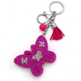 Μπρελοκ για κλειδιά με πεταλούδα φούξια