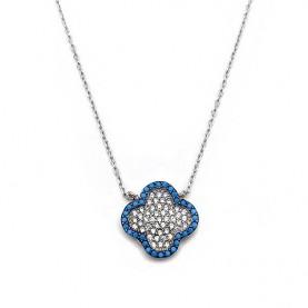 Σταυρός κολιέ με λευκές και μπλε πέτρες ασημένιο
