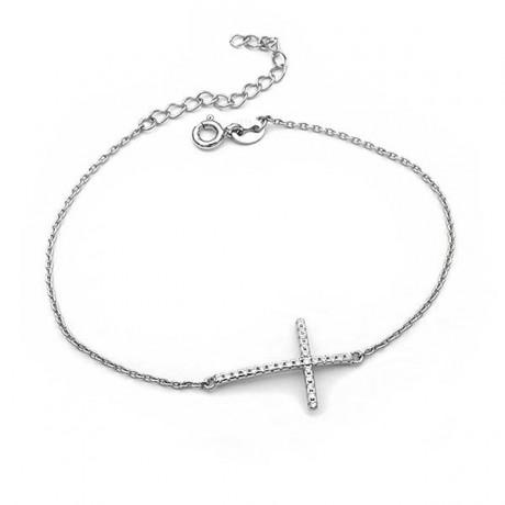 Κομψό λεπτό βραχιόλι με σταυρό και αλυσίδα