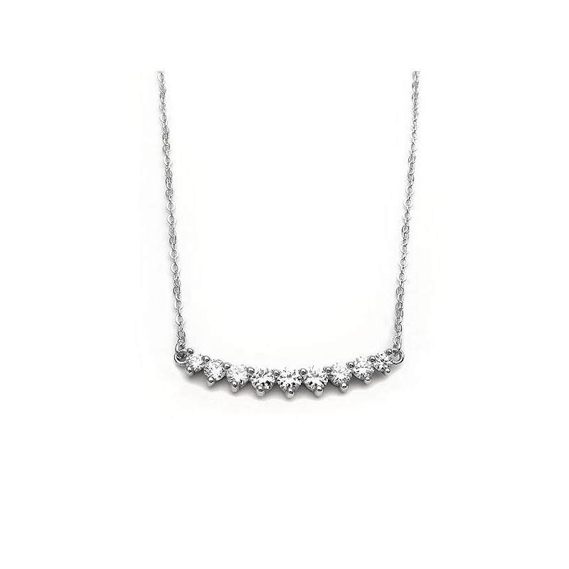 Necklace with stones zircon from silver 925 Platinum plated
