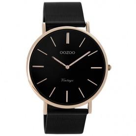 OOZOO Watch Vintage Black Metallic Bracelet 44mm