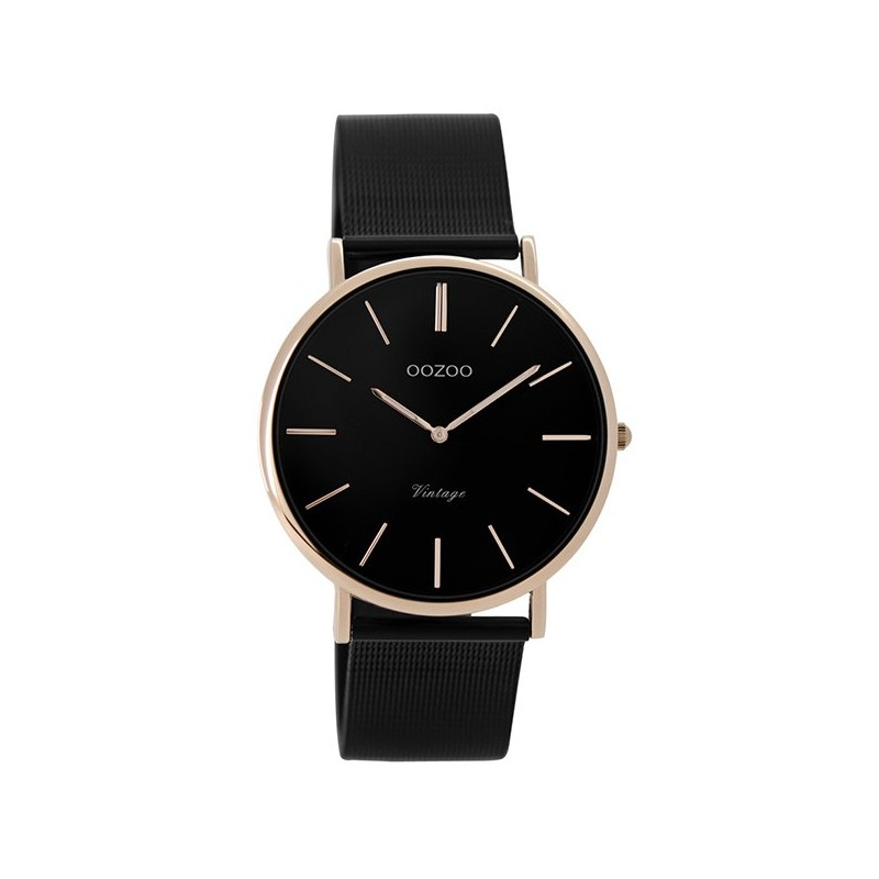 Women s watch OOZOO with black metal bracelet and pink gold dial bda2d8c9d07