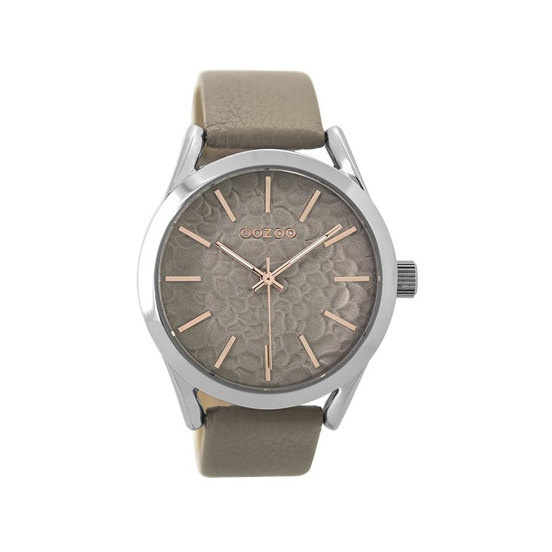 OOZOO Timepieces Brown Grey Leather Strap