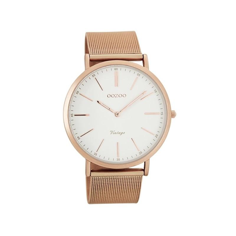 Γυναικείο ρολόι OOZOO με ροζ μεταλλικό μπρασελέ κ καντράν ροζ χρυσό 4e5db5d2dad
