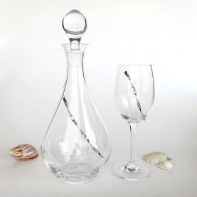 Ποτήρι και καράφα κρασιού κρυστάλλινα με ασημένια διακόσμηση