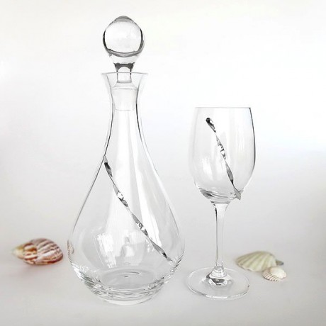 Glass and wine carafe crystal with silver decoration