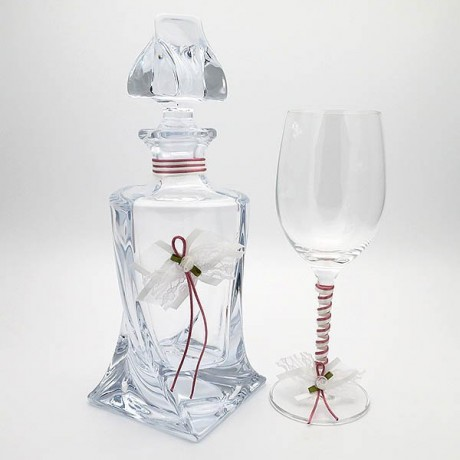 Glass of wine decanter for wedding crystals Jeans design
