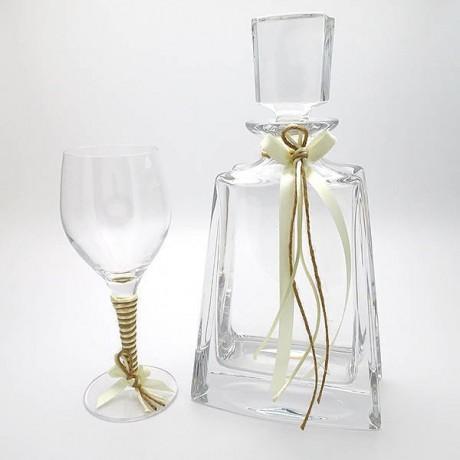 Ποτήρι καράφα γάμου κρυστάλλινα σχέδιο Εκρού