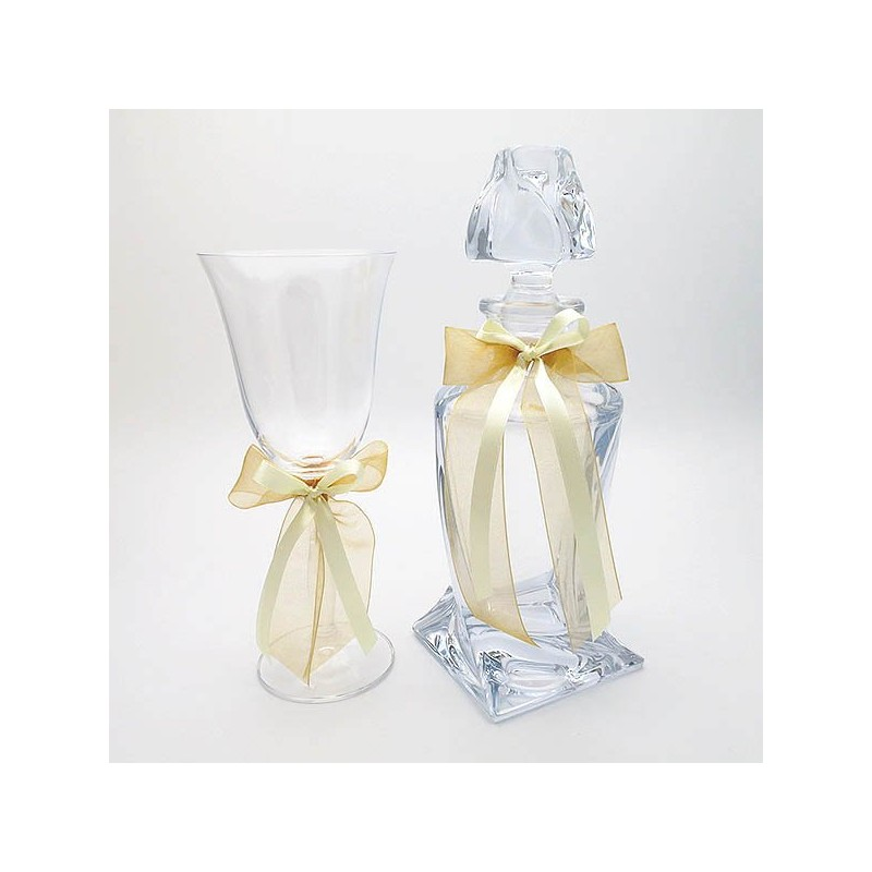 Carafe and glass for wedding with golden ribbons
