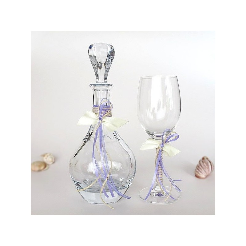 Carafe and Glass of Crystal Bohemian for Wedding