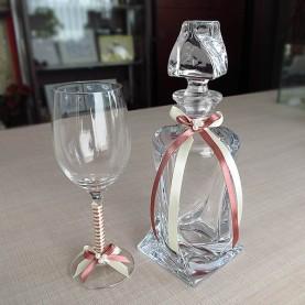 Καράφα και ποτήρι γάμου κρυστάλλινα με κορδέλες