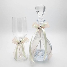 Wedding carafe glass with peachy pink decoration