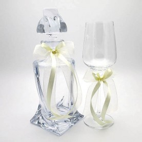 Carafe and crystal glass for wedding with ivory ribbons