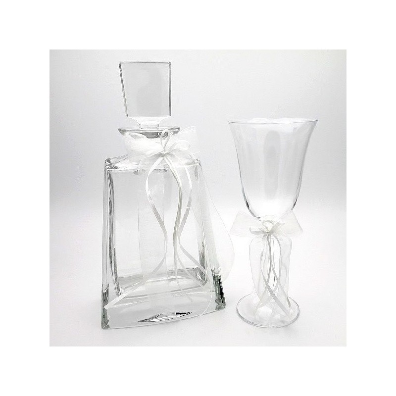 Bohemian glass and carafe with white ribbons