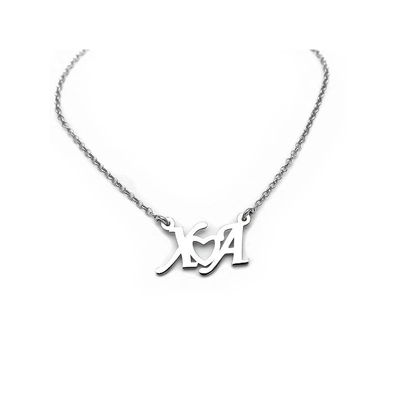 Necklace with letters and heart made from sterling silver 925 jewelry acafdcf9434