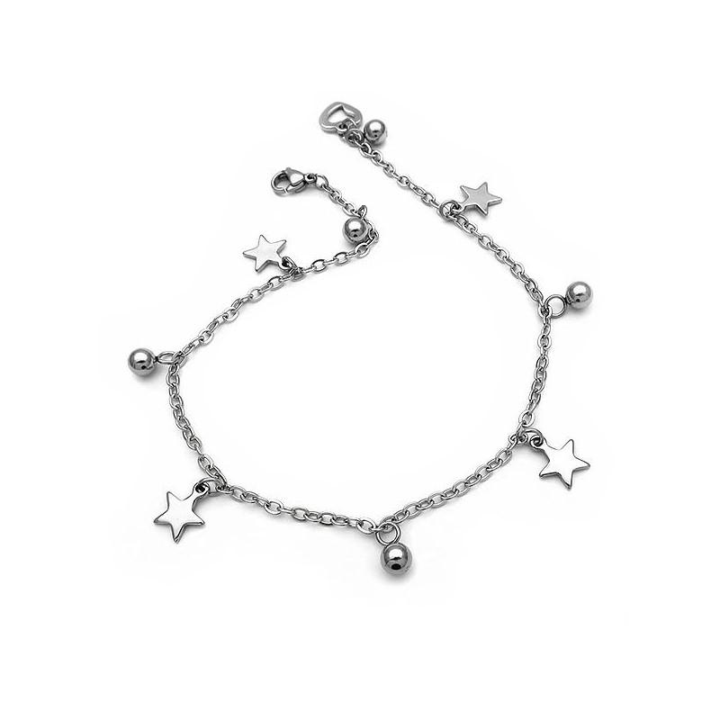 Ασημένια αλυσίδα ποδιού αστραγαλου με αστέρια από ατσάλι cc2a5899d70