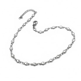 Thin Anklet bracelet Foot chain made of steel with hearts