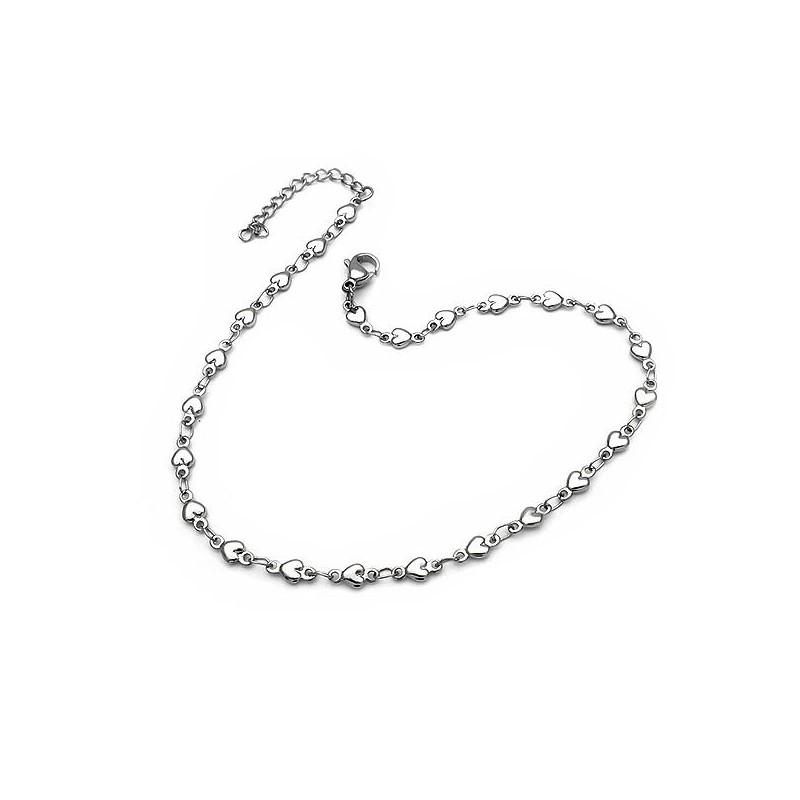 Αλυσίδα ποδιού αστραγαλου πολύ λεπτή με καρδιές από αστάλι δε μαυρίζει b73c07dd99b