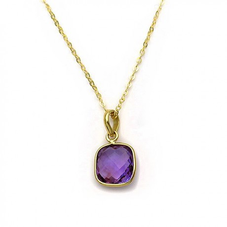 Pendant with amethyst purple from Silver 925 gold-plated