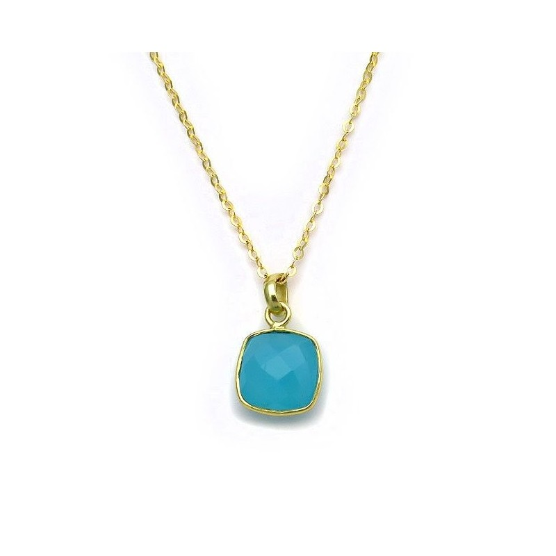 Pendant with Aquamarine from Silver 925 gold-plated