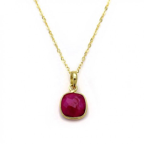 Pendant withred ruby from Silver 925 gold-plated