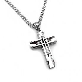 Σταυρός ανδρικός με αλυσίδα όλο από ατσάλι steel