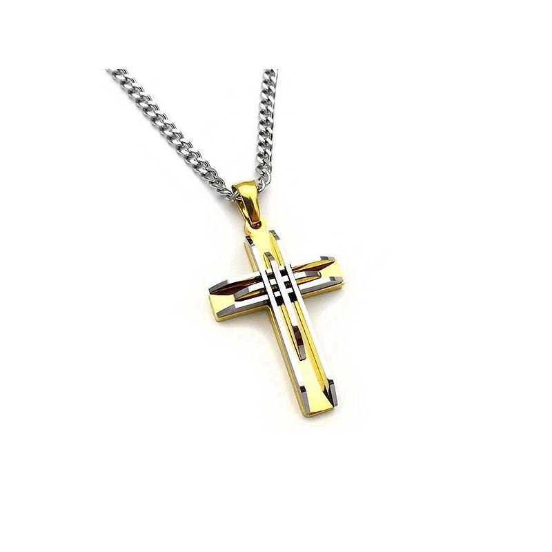 Σταυρός ανδρικός δίχρωμος με αλυσίδα όλο από ατσάλι steel