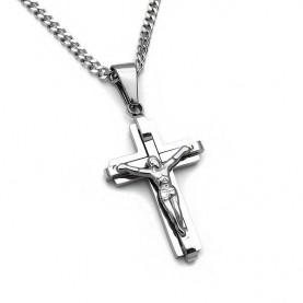 Υπέροχος Σταυρός ανδρικός με αλυσίδα από ατσάλι Stainless Steel