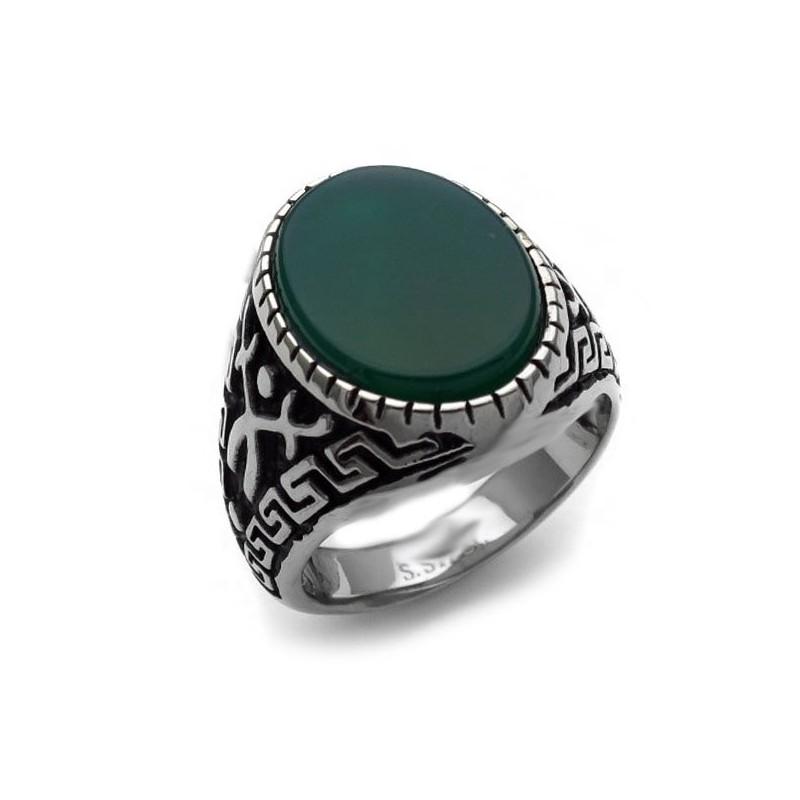 AMen's ring with dark green stone